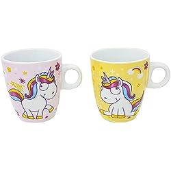 com-four® 2X Taza de café Unicornio en Rosa y Amarillo, Taza de Cacao mágico con Motivos de Unicornio mágico, 180 ML (02 Piezas - Taza Mix2)