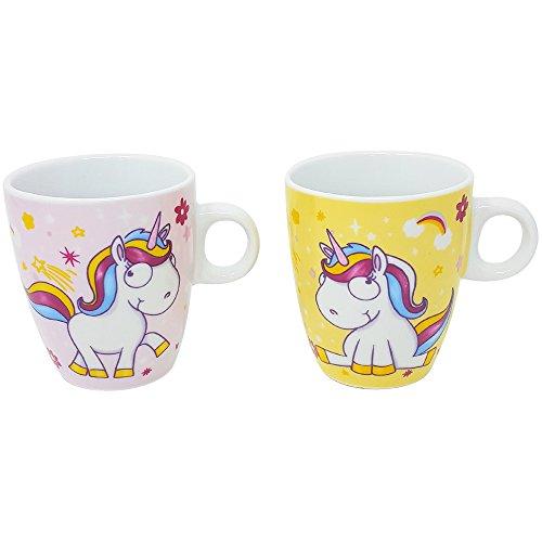 com-four 2X Tasse à café Unicorn en Rose et Jaune, Tasse Magique de Cacao avec des Motifs Magiques de Licorne, 180 ML (02 Pièces - Tasse Mix2)