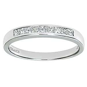 Naava Women's 9 ct White Gold 0.25ct Princess Cut Diamond Channel Set Half Eternity Ring, White Gold, J