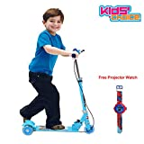 #8: Kids Play 3 Wheeler Foldable Height Adjustable Scooter with Break & Bell (Blue)