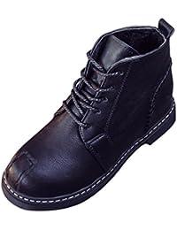Botas, Manadlian Botines de mujer Zapatos con cordones Tacones bajos Bota de otoño (EU:38, Negro)