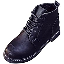 Botas, Manadlian Botines de mujer Zapatos con cordones Tacones bajos Bota de otoño (EU:37, Negro)