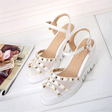 LvYuan Sandalen-Hochzeit Kleid Lässig-maßgeschneiderte Werkstoffe Kunstleder-Keilabsatz-Komfort Neuheit Club-Schuhe-Blau Rosa Weiß White