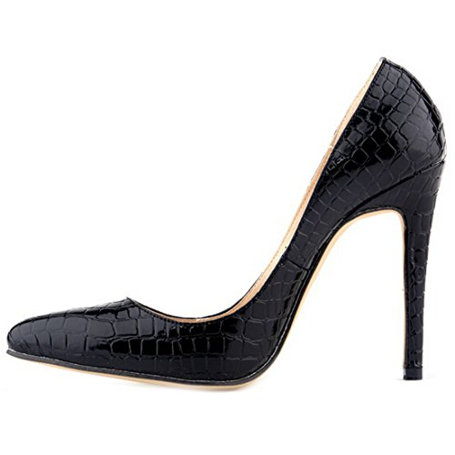 Senhoras Oasap Chique Crocodilo-design Highheels Stilletto Preto