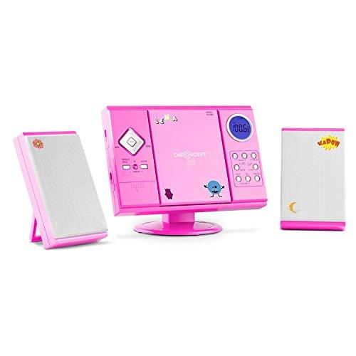 OneConcept V-12 Chaîne stéréo Ultra-Plate (Lecteur CD-MP3, écran LCD, Montage Mural Possible, Ports USB SD, réveil Via Radio, CD ou Buzzer, Stickers) - Rose