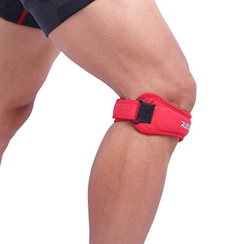 H.Yue 1pc Knee Pad Sleeve Adjustable Compression Leg Patella Wrap Protector Outdoor Fitness Climbing Sportswear Accessories (Red) -