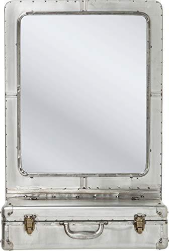 Kare Wandspiegel Suitcase, Spiegel, Schminkspiegel für den Flur, Kleiner Badspiegel mit Ablagefach im Industrial-Design, Silber (H/B/T) 85x55x23cm