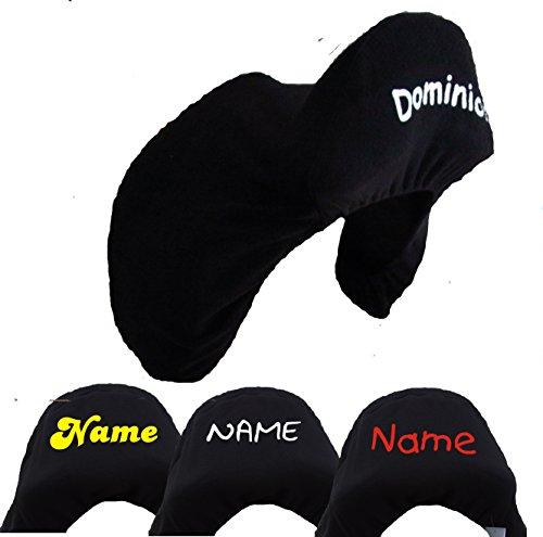 Sattelschoner Fleece schwarz personalisiert mit Ihrem Pferdenamen/Namen
