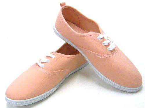 Schuh-City Sportlicher Damen Schnürer Freizeit Sneaker Stoffschuh Rosa