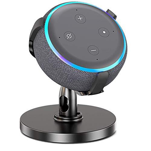 Echo Dot 3. Generation Tisch-Halter, Schreibtisch-Halter verbessert die Sound-Sichtbarkeit und das Aussehen, 360° verstellbare Halterung mit Gummi-Schutz für Smart Home Lautsprecher (Dot 3rd Black) 3. Generation Gummi