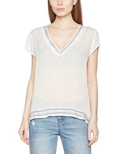 Vila Clothes Damen VITANSA V-Neck TOP TB Langarmshirt, Weiß (Snow White Detail:Vitansa Print Combo(Total Eclipse), 36 (Herstellergröße: S) -