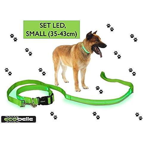 ECOBELLE® set collare + guinzaglio cane alta visibilita' LED luminoso con 3 modalita' di illuminazione, ricaricabile con USB e dotato di cavo USB, colore VERDE. Lunghezza guinzaglio 1.20m, collare taglia SMALL 35-43cm