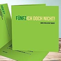Originelle Einladung 50 Geburtstag, Einladungskarten Fünfzich 5 Karten,  Quadratische Klappkarte 145x145 Inkl. Weiße