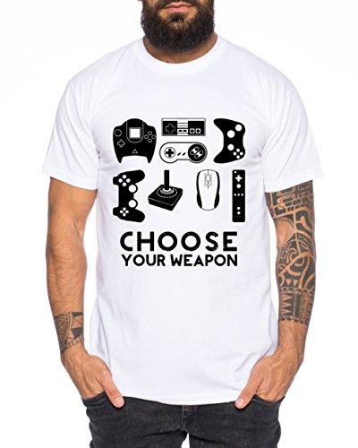 WhyKiki Choose Your Waepon Herren T-Shirt Gamer Play Sport Station Controller PS Game, Farbe:Weiß;Größe:XL (Playstation-t-shirt)