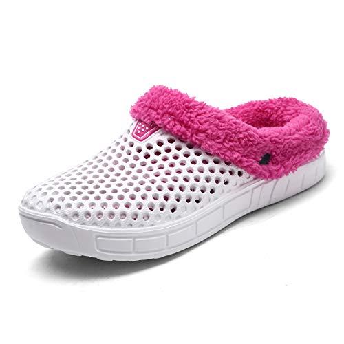 Hombres Mujer Invierno Calentar Zapatillas Zuecos Ponerse Jardín Pelaje Forrado Zapatilla Zapatos Blanco 40 EU