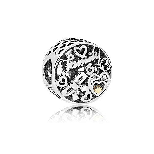 Pandora Charm Familien Tribut Sterling Silber, Gold, Cubic Zirconia 796267CZ