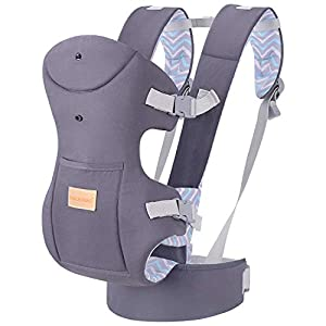 Infant Baby Holder Carrier Backpack Ergonomic with Head Support Padded Shoulder Straps Front and Back for Newborn Toddler Wrap in All Season,Grey   10