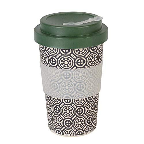 Thermo Rex Kaffeebecher to go Bambus Verschließbar   Bamboo Cup 350ml Schwarz   Umweltfreundliche Trinkbecher Alternative   Moderner Bambus Becher to go   Wichtelgeschenk