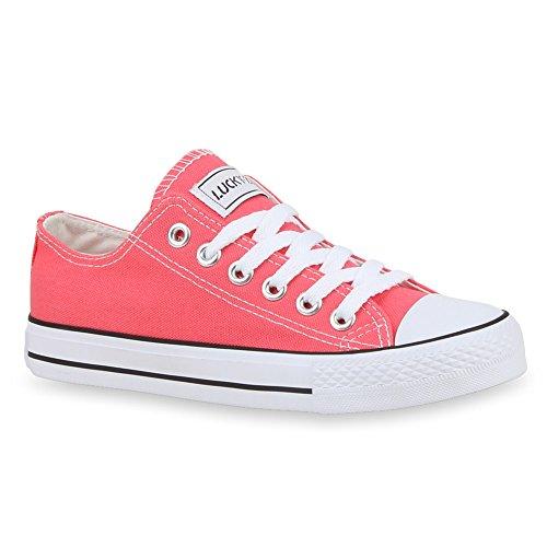 Damen Sneakers Turn Freizeit Low Sneaker Übergrößen Prints Glitzer Denim Schuhe 27920 Coral Ambler 41 Flandell
