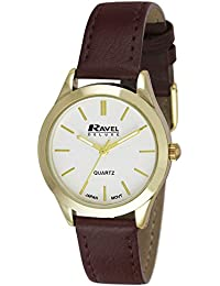 Ravel Damen-Armbanduhr Ravel Ladies Deluxe Classic Watch on a Genuine Leather Strap. Analog Leder Braun RD006.2GL