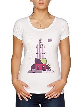 Vendax Universo Cohete Astronave Camiseta Mujer Blanco