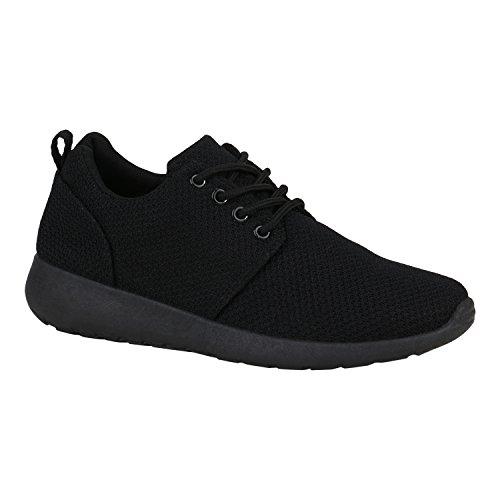 stiefelparadies Damen Herren Sneaker Sport schwarz Turn Runners mit Blumen Print in Mehreren Farben Schuhe 132206 Total Schwarz 38 Flandell