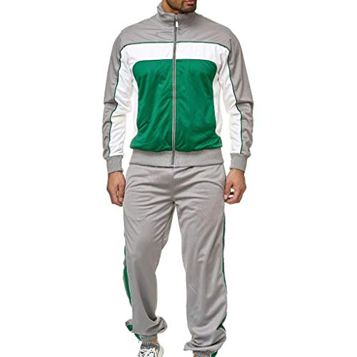 Herren Stitching Sportanzug Zweiteiler Coach Sportler Jogginganzug Trainingsanzug Trainingshose + Sweatjacke Kostüm Stehkragen Softshell Jacke Sweatshirt Fitness Yoga Anzug Sporthose Pullover