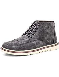 Botas Calientes para Hombre Botines Casuales De Invierno con Pisos De Piel Zapatos De Trabajo Botas
