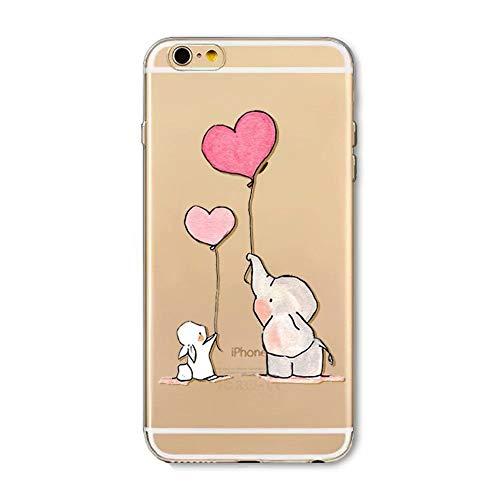 Fanxwu iPhone SE Hülle,iPhone 5 5S Hülle Weiches TPU Gel Silikon Ultra Schlank Case Transparente Schutzhülle Anti-Kratzer Schützend Abdeckung - Elefant und Kaninchen
