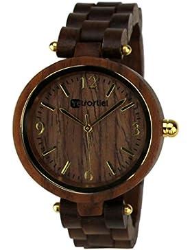 [Gesponsert]Holz Armbanduhr Venezia Nut Damen Holzuhr Armbanduhr aus Holz retrostiel