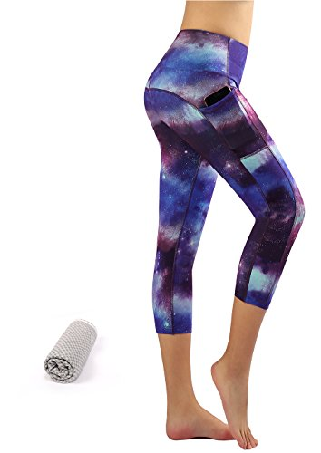 Munvot Tailored Geschenke Schön Galaxy Printed Tummy Control Yoga Pants Sport Leggings Blickdichte Leggings Training Tights Hohe Taille Strumpfhose (L, Lila Sterne 3/4) (Garderobe Für Frauen)