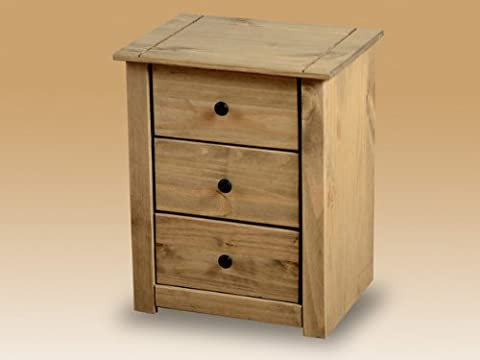 Home Discount Panama Bedside Chest 3 Drawer, Natural Oak
