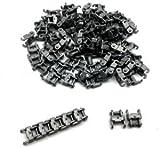 Ketten Glieder 1 Noppen Breit (100x), Antrazit für Lego-Panzer/Bagger US Army, WWII, Konstruktionsspielzeug Baukasten