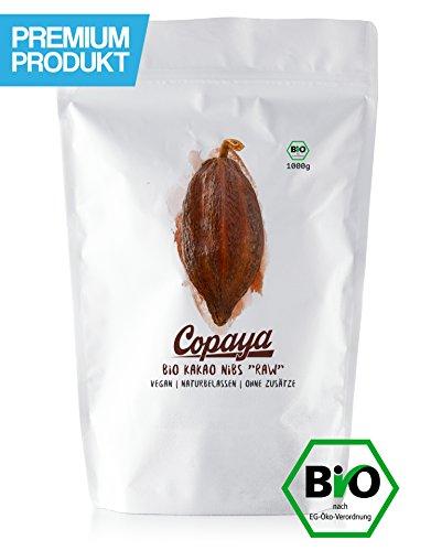 Kakao Nibs Roh ohne Zusätze l BIO l DE-ÖKO-001 l Aus Peruanischen Kakaobohnen l Kontrollierte Premium Bohnen ohne Zucker l Ungeröstet & Ungesüßt l Vorratspackung 1000g (1kg)