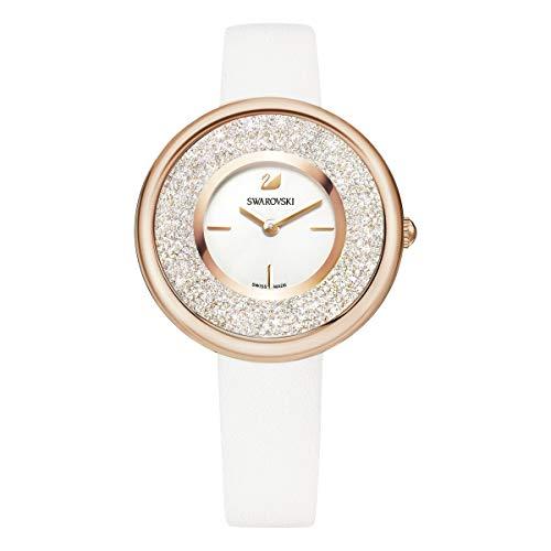 Swarovski Crystalline Damen-Armbanduhr 34mm Armband Leder Weiß Quarz 5376083