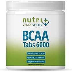 BCAA Tabletten 2:1:1 vegan - 360 Mega Tabs - 1000 mg BCAAs Tablette - Aminos hochdosiert - essentielle Aminosäuren - Aminotabs ohne Magnesiumstearat - hergestellt in Deutschland
