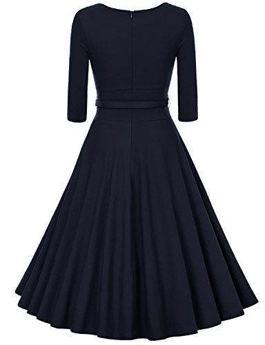 MUXXN Damen Retro 3/4 Arm Rockabilly Cocktailkleider Freizeit Swing Kleid Vintage Ballkleid Deep Blue