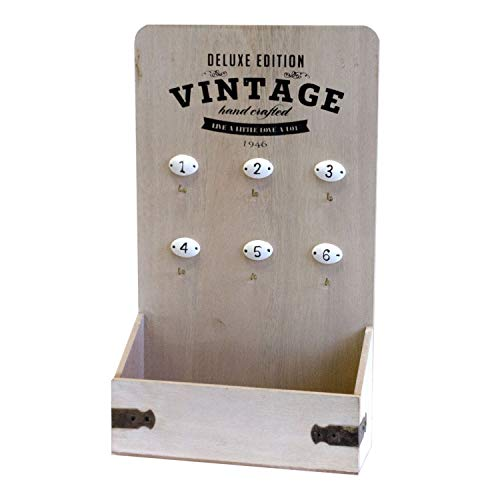 Caja para llaves 'Vintage', con 6 ganchos, diseño de letras, 37 x 22 x 8 cm
