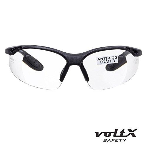 voltX 'Constructor' Schutzbrille mit Sehstärke inkl. Sicherheitskordel mit Stopper – farblos – +2,00 Dioptrien, LESERSCHUTZBRILLE Vergrößerung linse Schutzbrille mit Lesehilfe