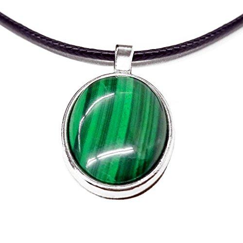 Malachit Anhänger 18x25 mm mit natürlichem Malachit Stein in Fassung - Halsband mit Hakenverschluss (Malachit) natürlich grün