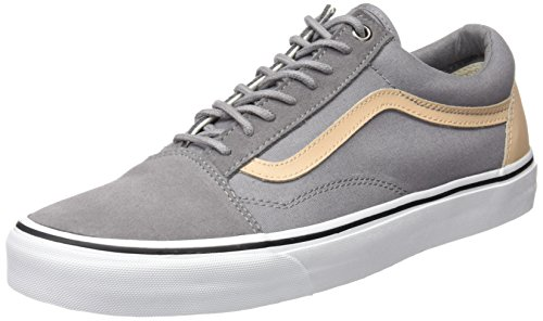 Vans Herren UA Old Skool Sneakers, Grau (Veggie Tan Frost Gray/True White), 47 EU, VA38G1MN6 (Cap Suede Canvas)
