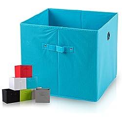 diMio SB1 Faltbox in Blau (4er Pack) - Regalfach Aufbewahrungsbox mit Trageschlaufen und Fingerloch, extra tief für noch mehr Stauraum