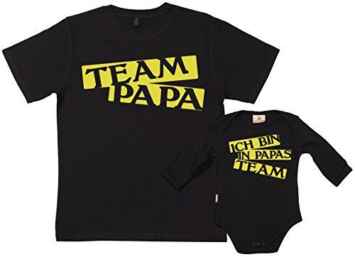 Team Papa T-shirt (SR - Geschenkpackung Baby Geschenkset - Team Papa - Papa T-Shirt & Baby Strampler in Geschenkbox - Vater Baby Geschenkset - Schwarz, XXL & 0-6 Monate)