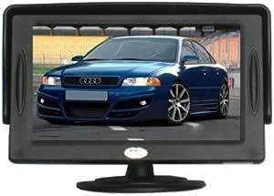 Ympa Rückfahrsystem Einparkhilfe 12 7 Cm 5 Zoll Inch Tft Lcd Monitor Rückfahrkamera Kennzeichen Nummernschild Halterung 6 Meter Kabel Auto Pkw Kfz Transporter Wohnmobil Auto