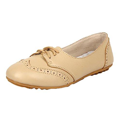 Heheja Damen Low-top Mokassin Casual Loafers Freizeit Flache Schuhe Slippers Beige