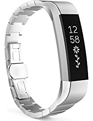 MoKo Fitbit Alta Correa - Reemplazo SmartWatch Band de Reloj de Acero Inoxidable Bracelete con Hebilla Mariposa Pulsera Accesorios para Fitbit Alta Smart Fitness Tracker, Plata