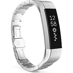 MoKo Fitbit Alta / Alta HR Correa - Reemplazo SmartWatch Band de Reloj de Acero Inoxidable Bracelete con Hebilla Mariposa Pulsera Accesorios para Fitbit Alta / Alta HR Smart Fitness Tracker, Negro