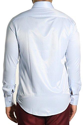 diagonal gestreiftes Herrenhemd Slim-fit/Tailliert MMUGA Hellblau