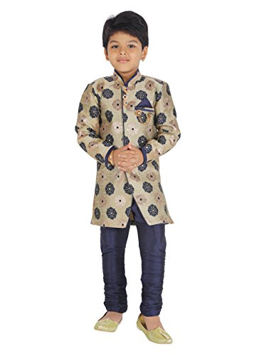 Ahhaaaa Kids Ethnic Indo-Western Cotton Silk Festive and Party Wear Sherwani and...