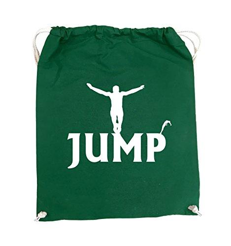 Comedy Bags - JUMP - FIGUR - Turnbeutel - 37x46cm - Farbe: Schwarz / Silber Grün / Weiss